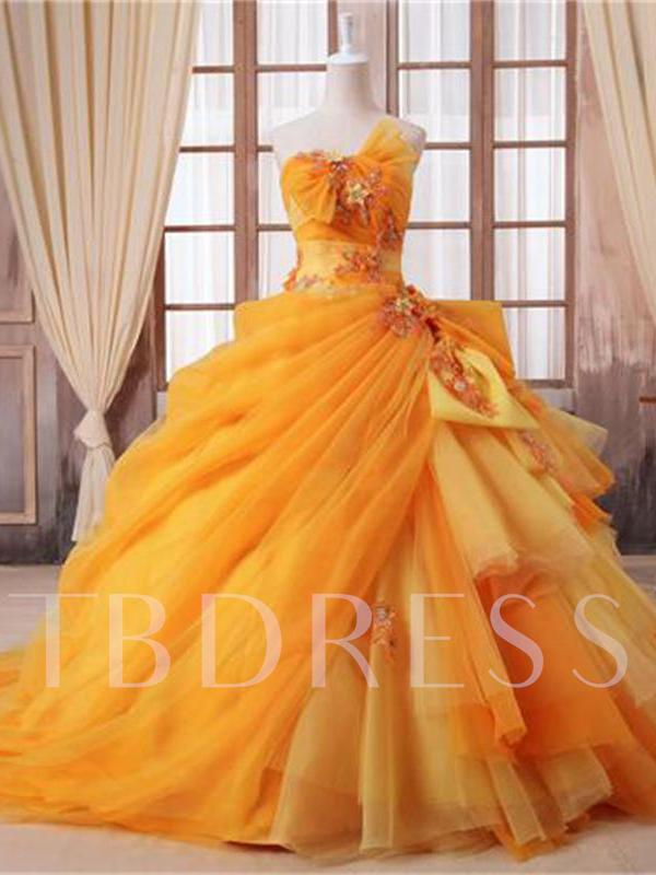 Ball Gown Strapless Court Train Appliques Quinceanera Dress