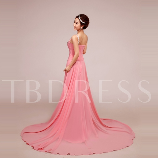 A-Line Ruched Beading One-Shoulder Evening Dress