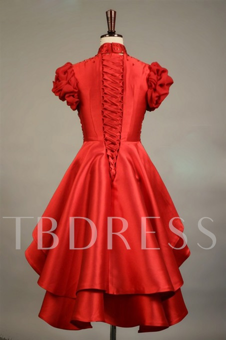 High Neck Beading Short Sleeves Tiered Lace-up Asymmetric Prom Dress