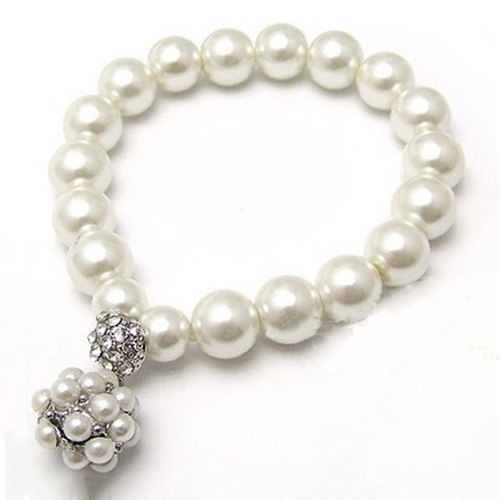 All-matched Alloy Rhinestone and Pearl Bracelet