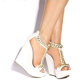 Chain T-shaped Wedges Heel Peep Toe Women's Sandals