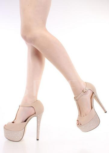 Nude T Strap Peep Toe Suede Women Pumps