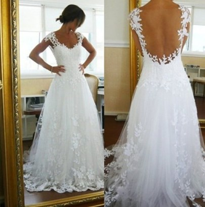 Cap Sleeve Appliques Sheer Back Beach Wedding Dress