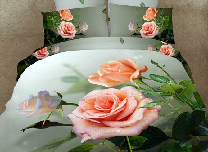 Dewy Rose Printed Cotton 4-Piece 3D Bedding Sets/Duvet Covers