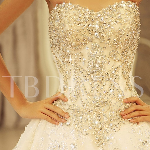 Ball Gown Floor-length Sweetheart Lace-up Cathedral Beading Wedding Dress