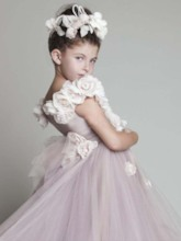 Flowers Off-The-Shoulder Flower Girls Dress