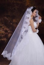 Wedding Bridal Veil with Lace Applique Edge