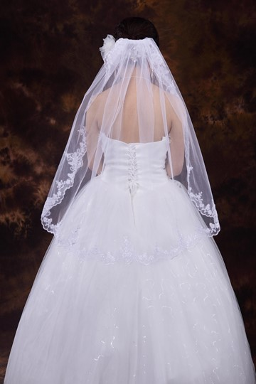 Elbow Wedding Veil with Appliques