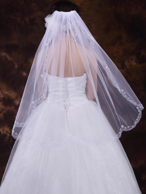 Mid-Hip Length Tulle With Beading Wedding Veil