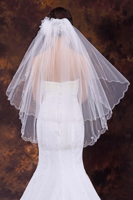 Two Layer Elbow Wedding Veil With Beads