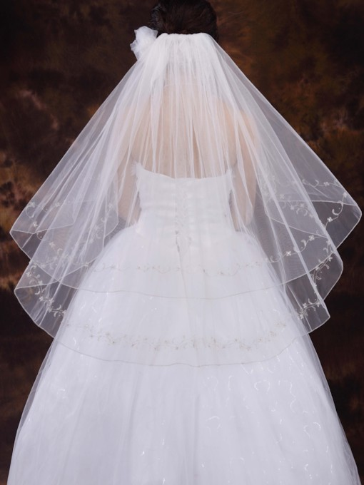 Two Layer Elbow Wedding Veil With Embroidery
