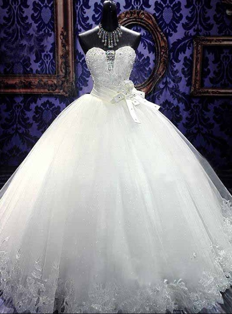 Ball Gown Beading Appliques Bowknot Wedding Dress