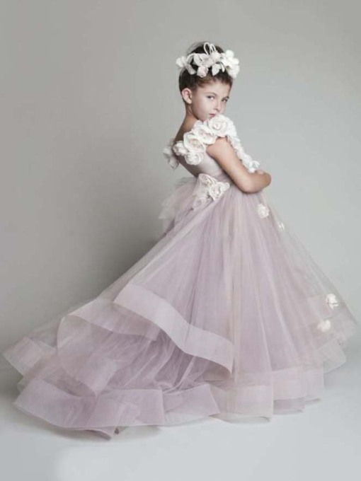 Organza Flowers Off-The-Shoulder Long Flower Girls Dress