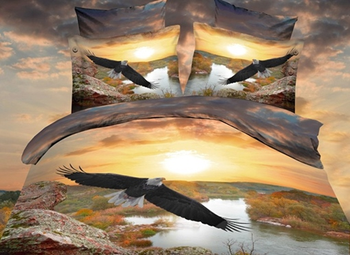 Eagle Flying Over the River Print Polyester 3D Bedding Sets/Duvet Covers
