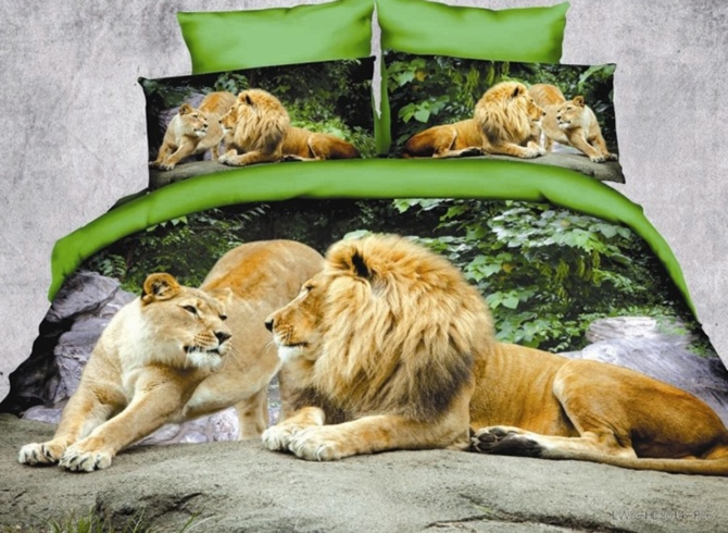Crown Lion Couple Print Polyester 3D Bedding Sets/Duvet Covers