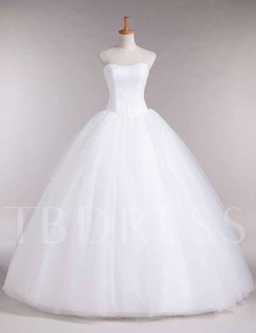 Lace Top Ball Gown Strapless Wedding Dress