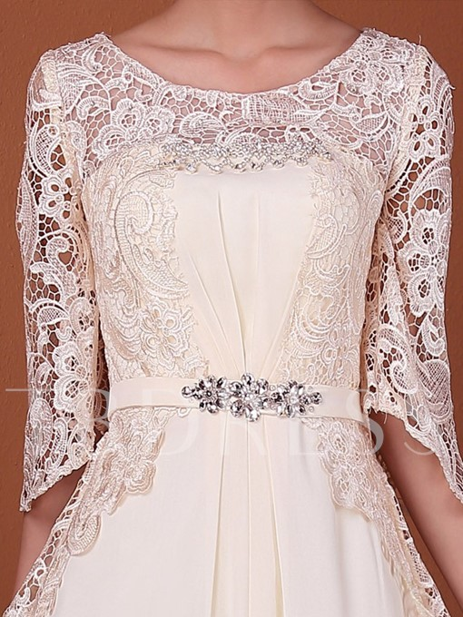 A-Line Lace Half Sleeve Mother of the Bride Dress