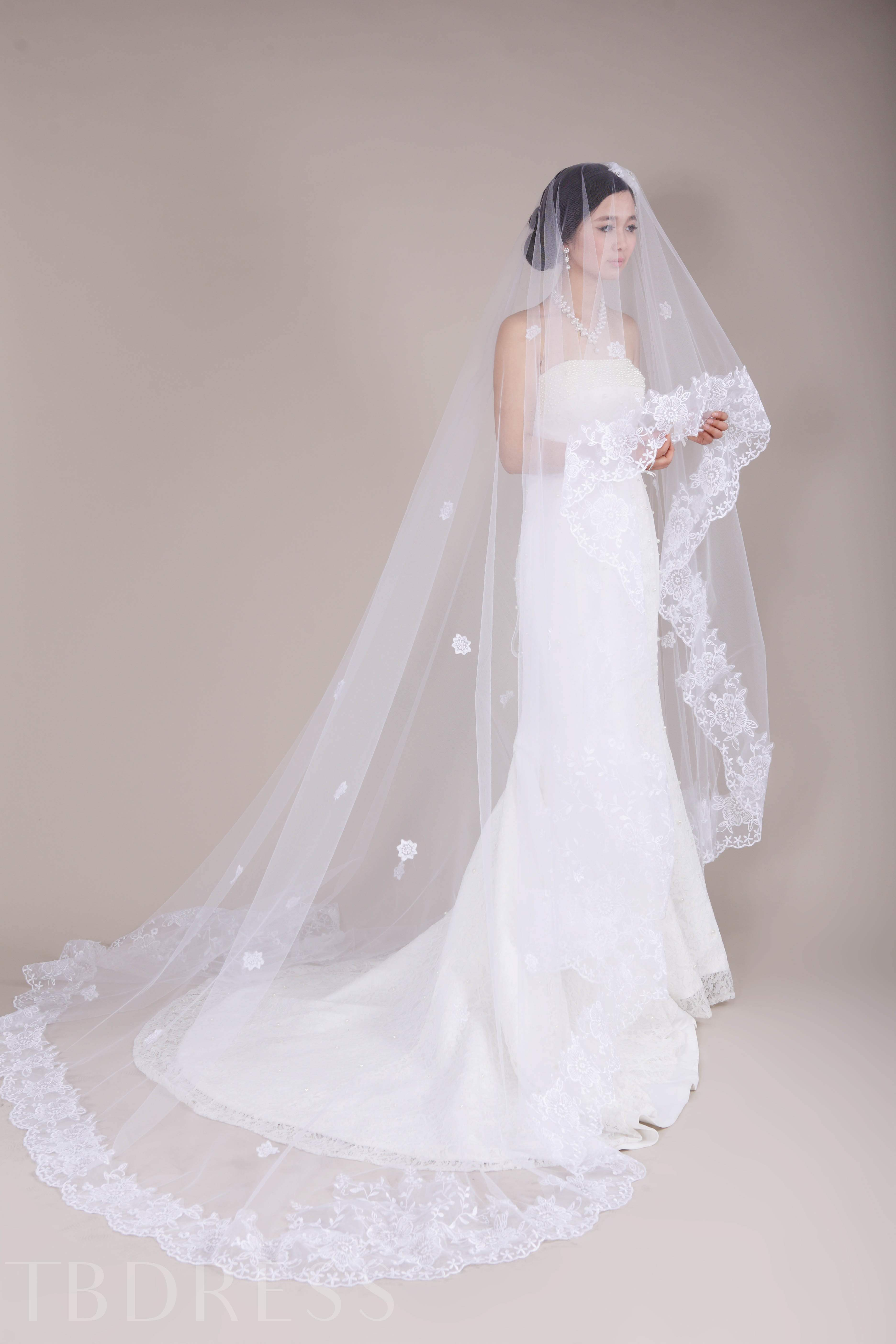 Wedding Veil With Appliques Edge