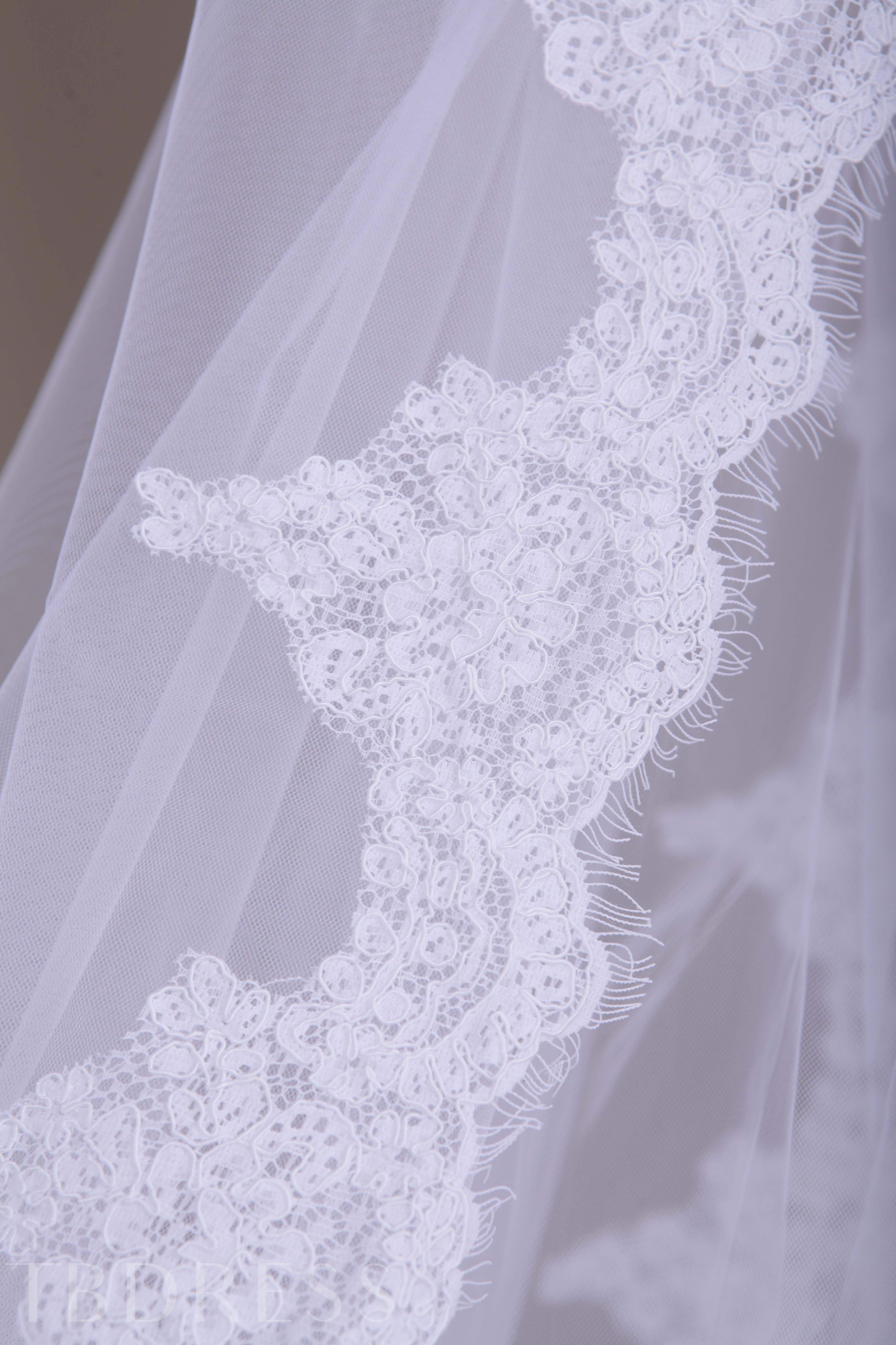 Cathedral Length Two-layer Appliques Wedding Viel