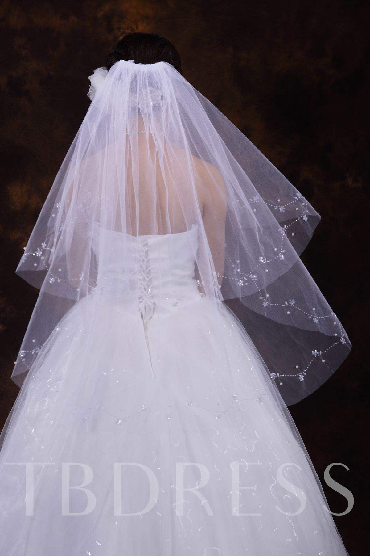Elbow Wedding Veils With Beading Edge