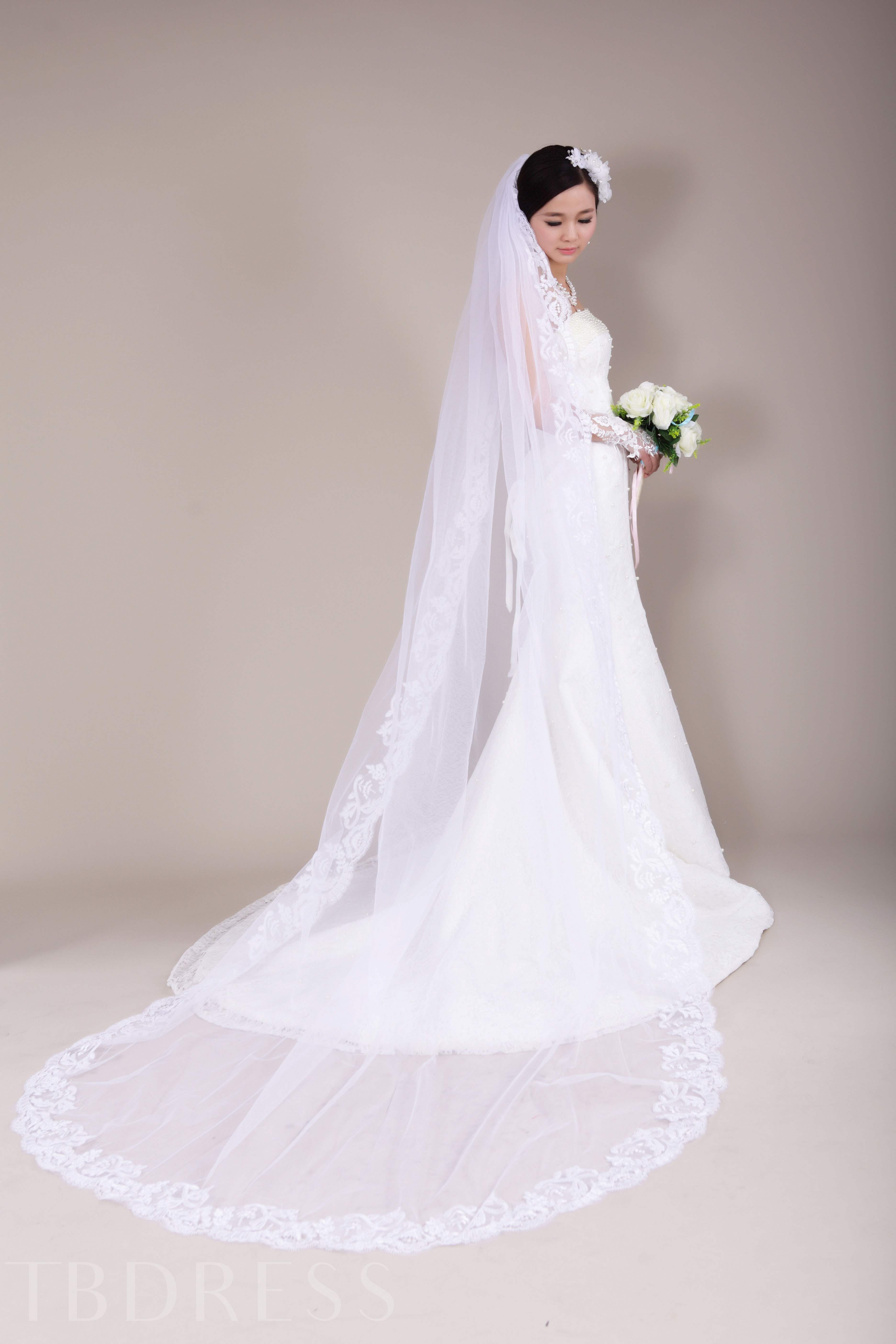 Wedding Veil with Cathedral Lace Applique Edge
