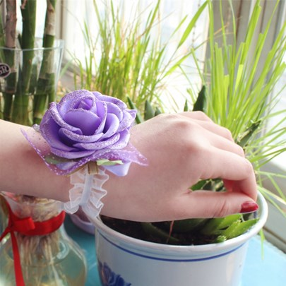 Purple Cloth Flowers Wedding/Bridal Wrist Corsage