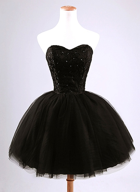 Sweetheart Lace Beading Black Cocktail Dress