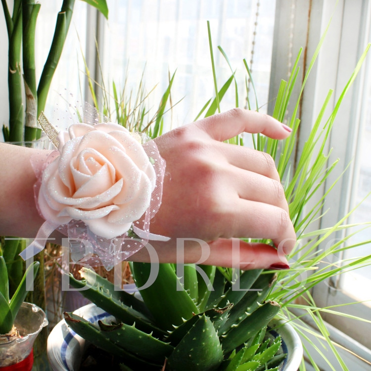 Champagne Cloth Flowers Wedding/Bridal Wrist Corsage