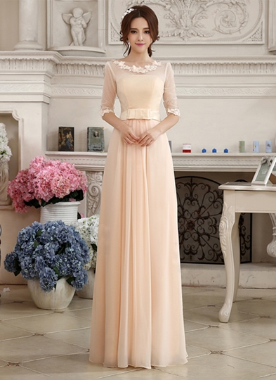 A-Line Lace Appliques Zipper-up Floor-Length Prom Dress