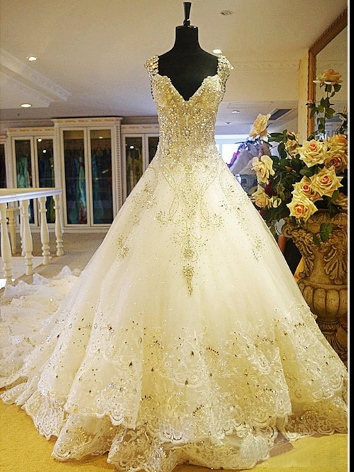 Luxurious Rhinestone Appliques Cathedral Train Wedding Dress