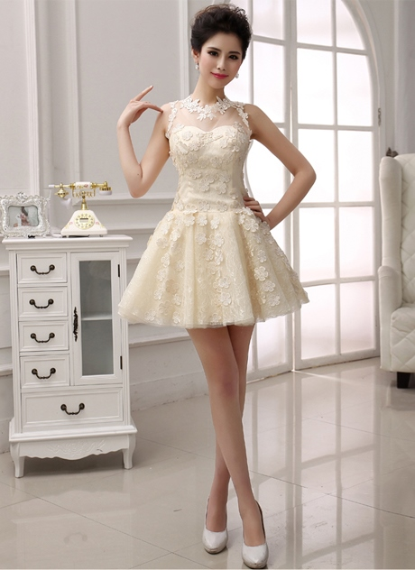 A-Line Jewel Neckline Lace Short-Length Prom/ 16 Dress