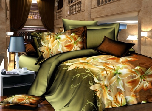 Charming Lily Print 4 Piece Polyester 3D Bedding Sets/Duvet Covers
