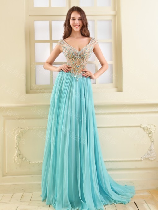 V-Neck A-line Rhinestone Beading Prom Dress