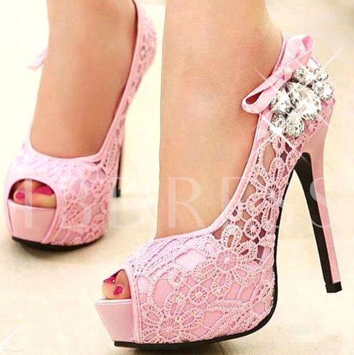 Rhinestone Net Peep-Toe Fancy Heels Bridal's Wedding Shoes