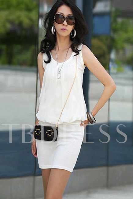 Summer Chiffon Pleated Sheath Dress