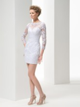 Sheath Appliques Short Wedding Dress with Long Sleeve