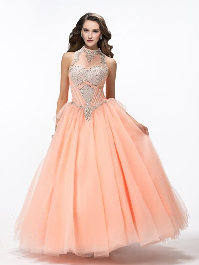 Ball Gown Halter Rhinestone Bowkont High Neck Evening Dress