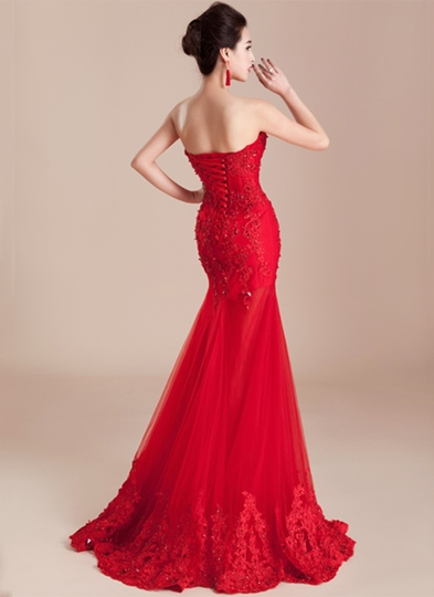 Mermaid Lace Appliques Beading Sweetheart Floor-Length Evening Dress