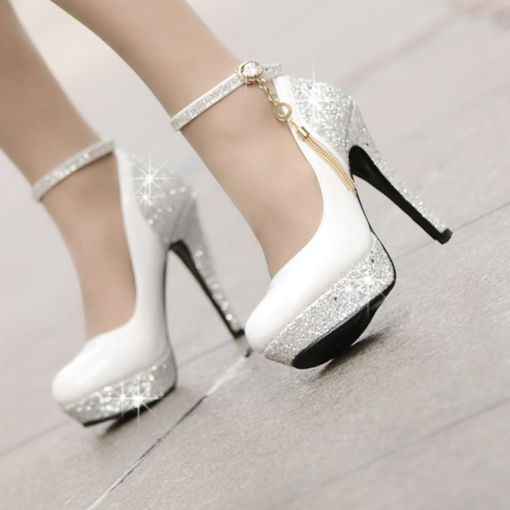 High Heels Platform Tassel White Wedding Shoes (Small One Yard)