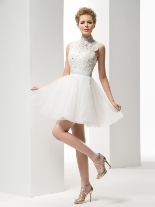 A-Line High Neck Appliques Short Wedding Dress