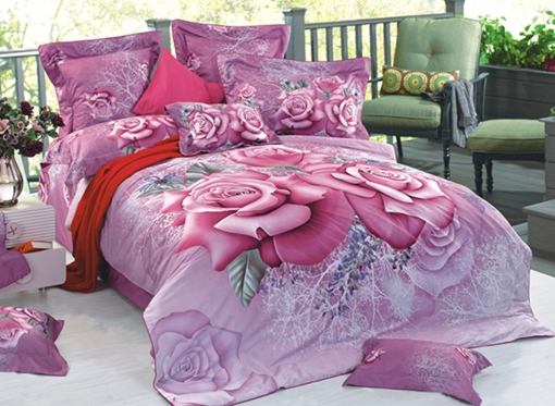 Purple Blooming Roses Printed Cotton 3D 4-Piece Bedding Sets/Duvet Cover
