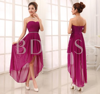 Sweetheart Asymmetry Lace-Up Rhinestone Sashes Bridesmaid Dress