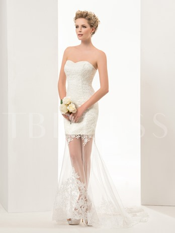 Mermaid/Trumpet Sweetheart Lace-up Appliques Perspective Wedding Dress