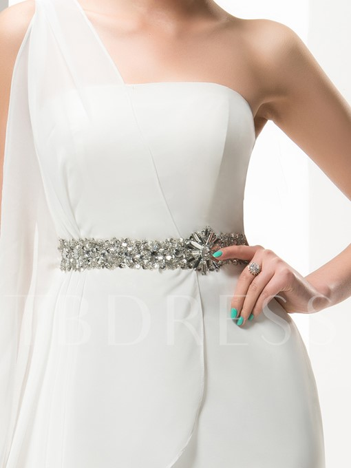 One Shoulder Beaded Sheath Short Wedding Dress