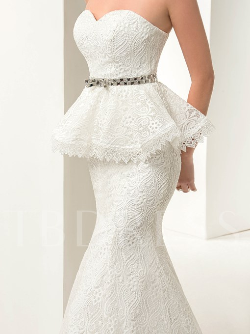 Lace-Up Mermaid Tiered Floor-Length Lace Wedding Dress