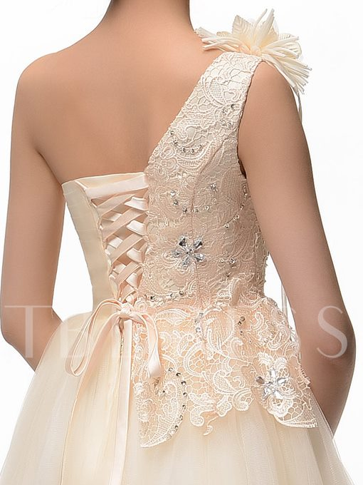 A-Line One-Shoulder Lace Appliques Flowers Homecoming Dress