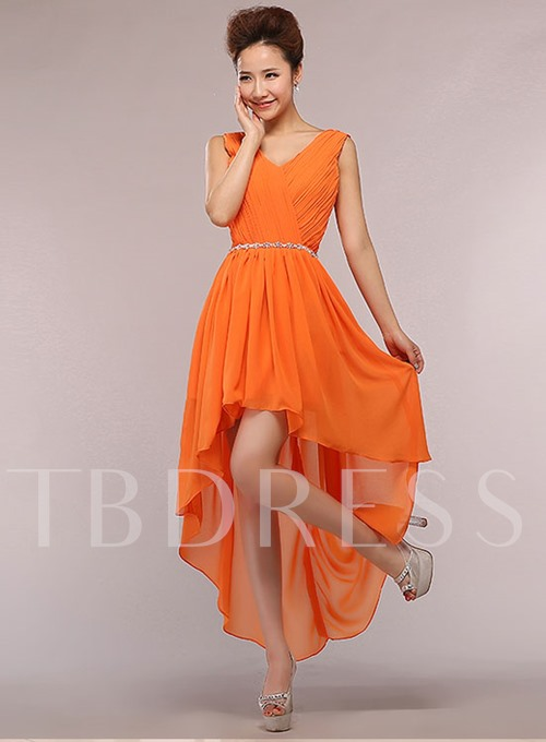 A-Line Beaded High Low Bridesmaid Dress