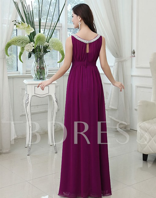 Jewel Neck Floor-Length A-Line Beading Bridesmaid Dress