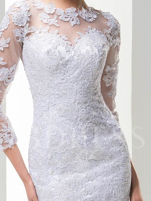 Sheath Jewel Appliques Short Wedding Dress