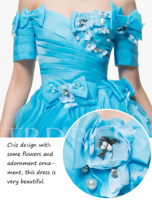 Off-the-Shoulder Bowknot Pearls Quinceanera Dress